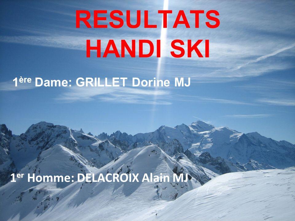 RESULTATS HANDI SKI 1 ère Dame: GRILLET Dorine MJ 1 er Homme: DELACROIX Alain MJ