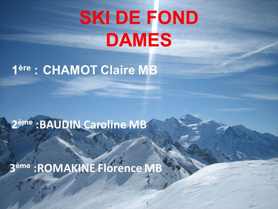 SKI DE FOND DAMES 1 ère : CHAMOT Claire MB 3 ème :ROMAKINE Florence MB 2 ème :BAUDIN Caroline MB