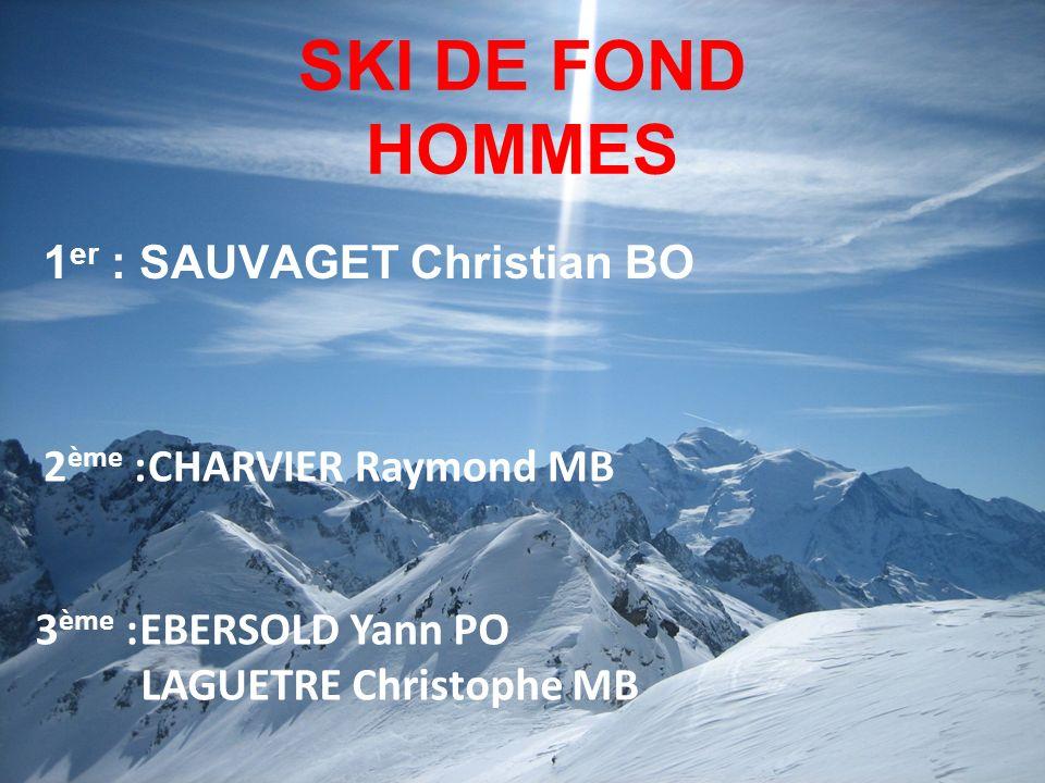 SKI DE FOND HOMMES 1 er : SAUVAGET Christian BO 3 ème :EBERSOLD Yann PO LAGUETRE Christophe MB 2 ème :CHARVIER Raymond MB