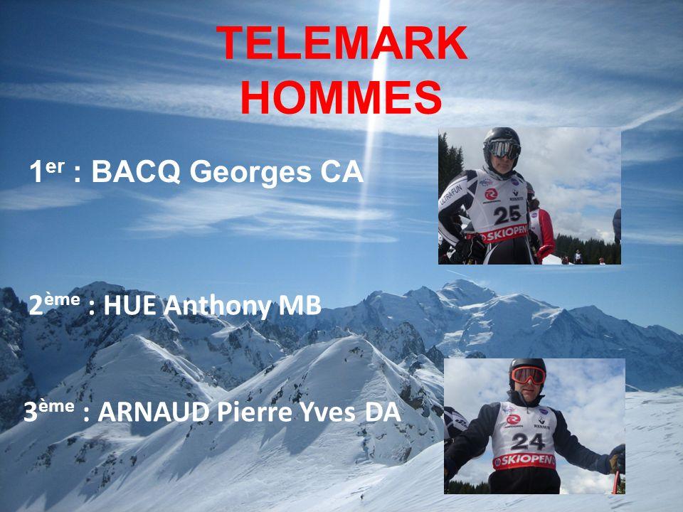 TELEMARK HOMMES 1 er : BACQ Georges CA 3 ème : ARNAUD Pierre YvesDA 2 ème : HUE Anthony MB
