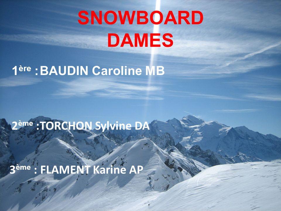 SNOWBOARD DAMES 1 ère :BAUDIN Caroline MB 3 ème : FLAMENT Karine AP 2 ème :TORCHON Sylvine DA