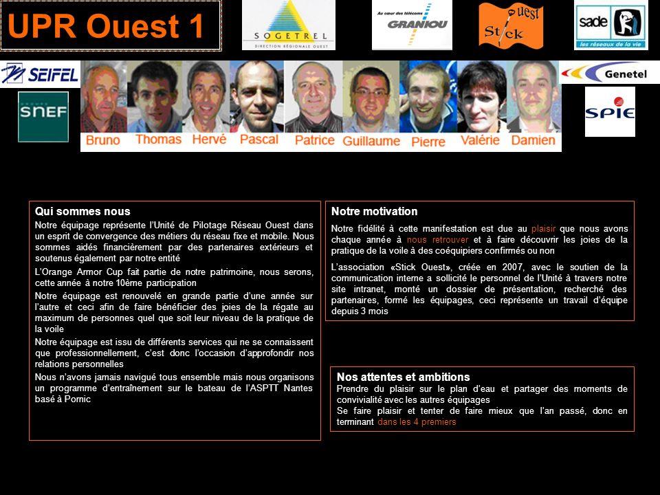 UPR Ouest 1 Qui sommes nous Notre équipage représente lUnité de Pilotage Réseau Ouest dans un esprit de convergence des métiers du réseau fixe et mobi