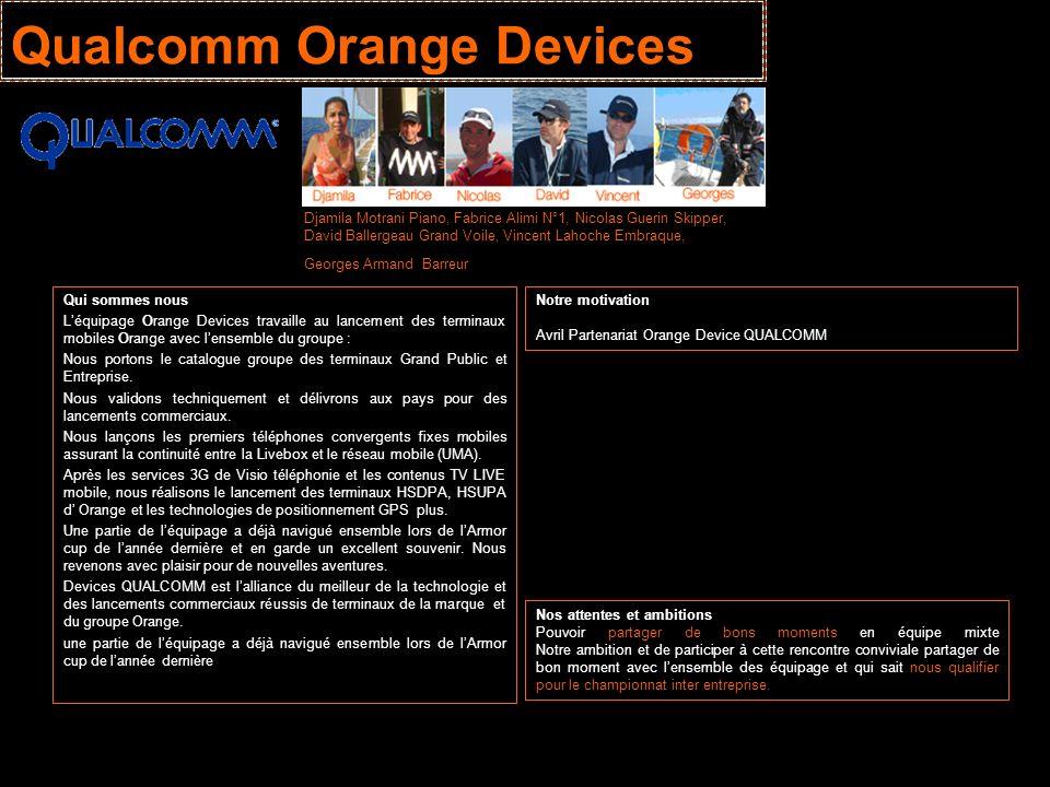 Qualcomm Orange Devices Qui sommes nous Léquipage Orange Devices travaille au lancement des terminaux mobiles Orange avec lensemble du groupe : Nous p