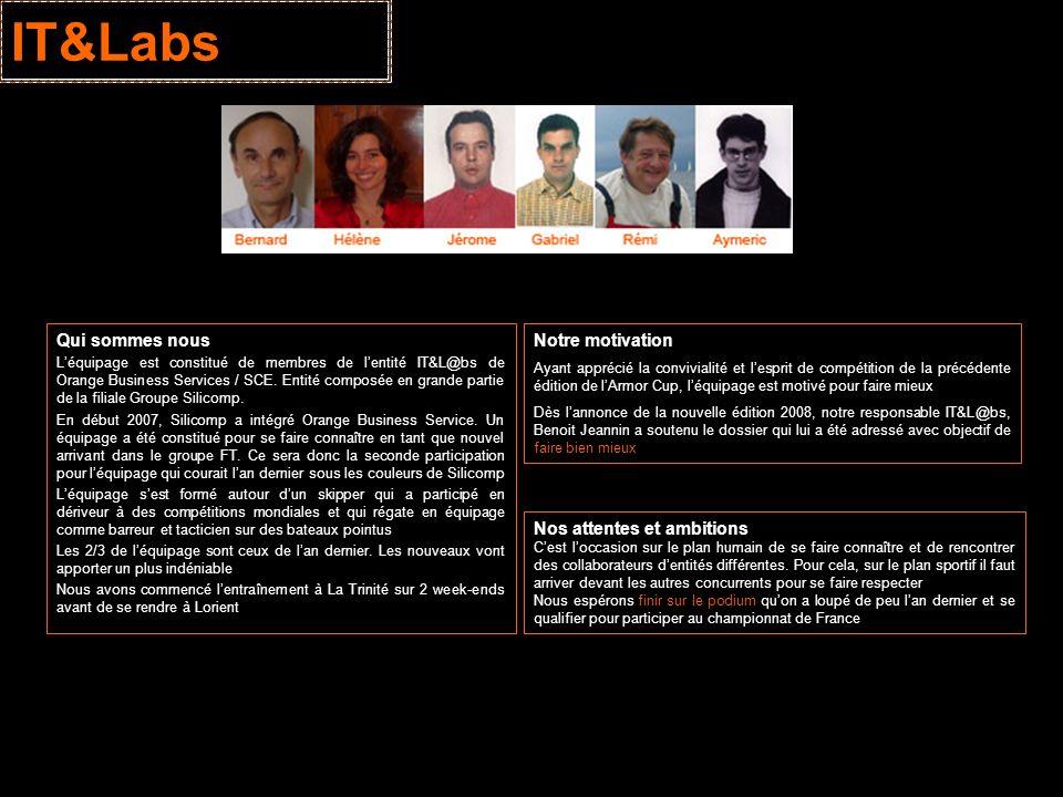 IT&Labs Qui sommes nous Léquipage est constitué de membres de lentité IT&L@bs de Orange Business Services / SCE. Entité composée en grande partie de l
