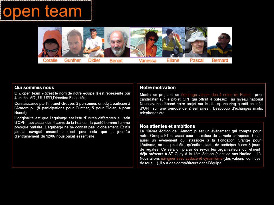 open team Qui sommes nous L « open team » (cest le nom de notre équipe !) est représenté par 4 unités AD, UI, UPR,Direction Financière Connaissance pa