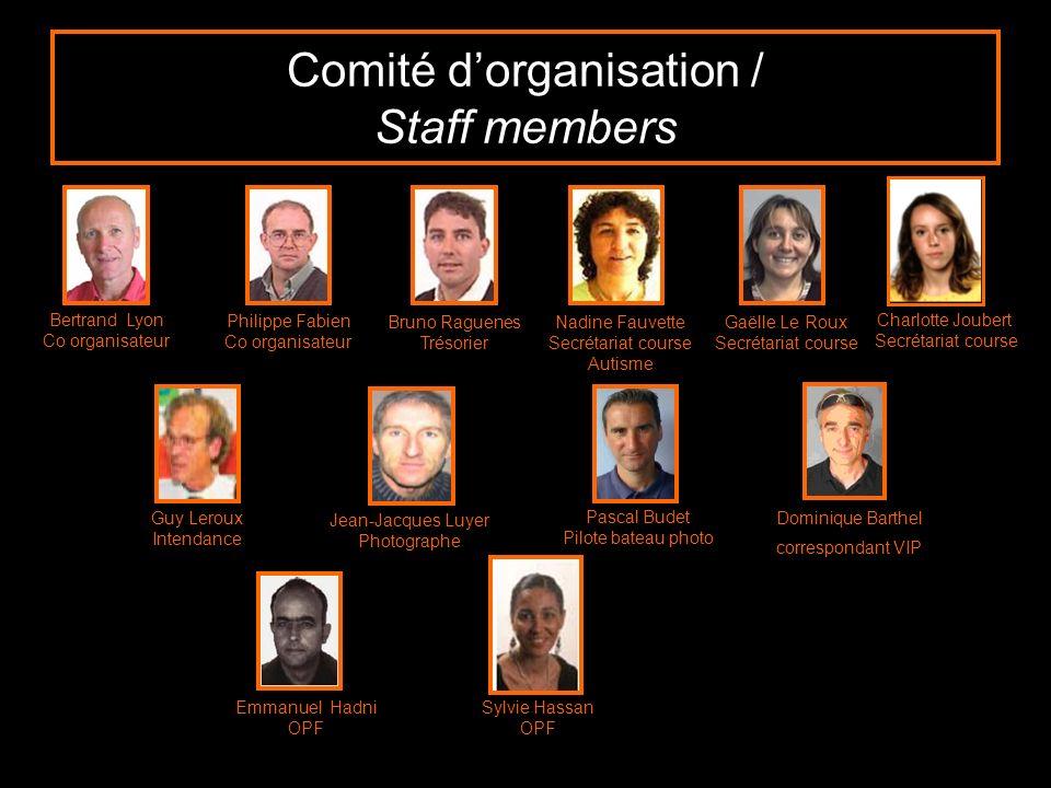 Comité dorganisation / Staff members Bertrand Lyon Co organisateur Philippe Fabien Co organisateur Bruno Raguenes Trésorier Nadine Fauvette Secrétaria