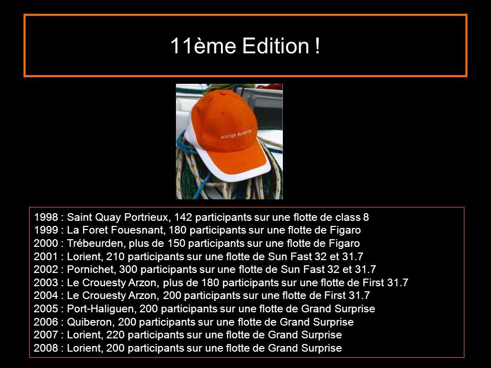 11ème Edition ! 1998 : Saint Quay Portrieux, 142 participants sur une flotte de class 8 1999 : La Foret Fouesnant, 180 participants sur une flotte de