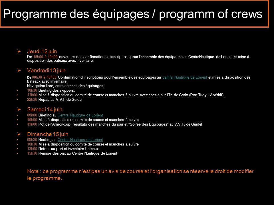 Programme des équipages / programm of crews Jeudi 12 juin De 16h00 à 19h00 ouverture des confirmations dinscriptions pour lensemble des équipages au C