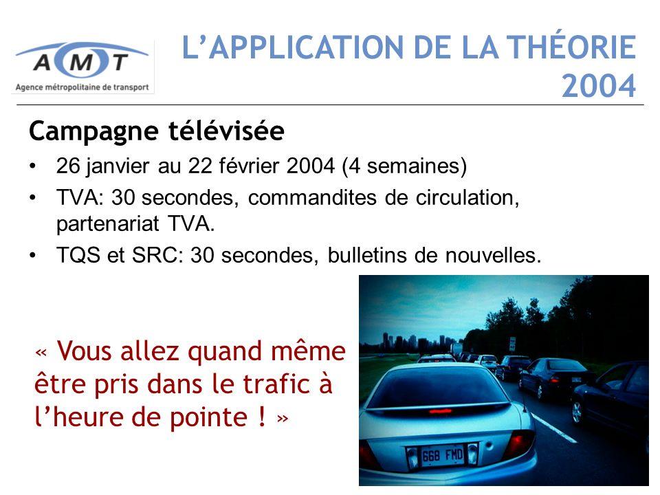 20 Campagne télévisée 26 janvier au 22 février 2004 (4 semaines) TVA: 30 secondes, commandites de circulation, partenariat TVA. TQS et SRC: 30 seconde