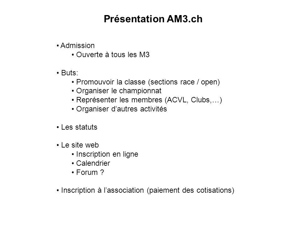 Présentation AM3.ch Admission Ouverte à tous les M3 Buts: Promouvoir la classe (sections race / open) Organiser le championnat Représenter les membres (ACVL, Clubs,…) Organiser dautres activités Les statuts Le site web Inscription en ligne Calendrier Forum .