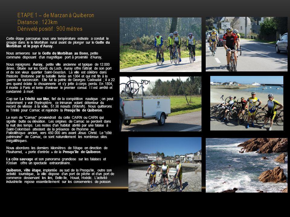 ETAPE 1 – de Marzan à Quiberon Distance : 123km Dénivelé positif : 900 mètres Cette étape parcourue sous une température estivale a conduit le groupe dans le le Morbihan rural avant de plonger sur le Golfe du Morbihan et le pays dAuray.