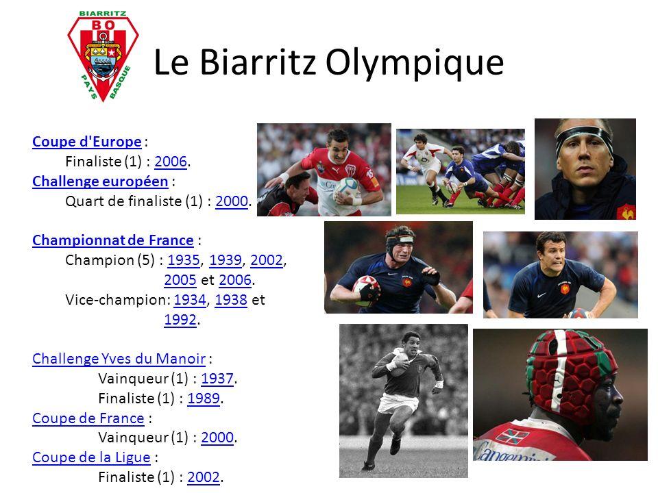 Le Biarritz Olympique Coupe d'EuropeCoupe d'Europe : Finaliste (1) : 2006.2006 Challenge européenChallenge européen : Quart de finaliste (1) : 2000.20