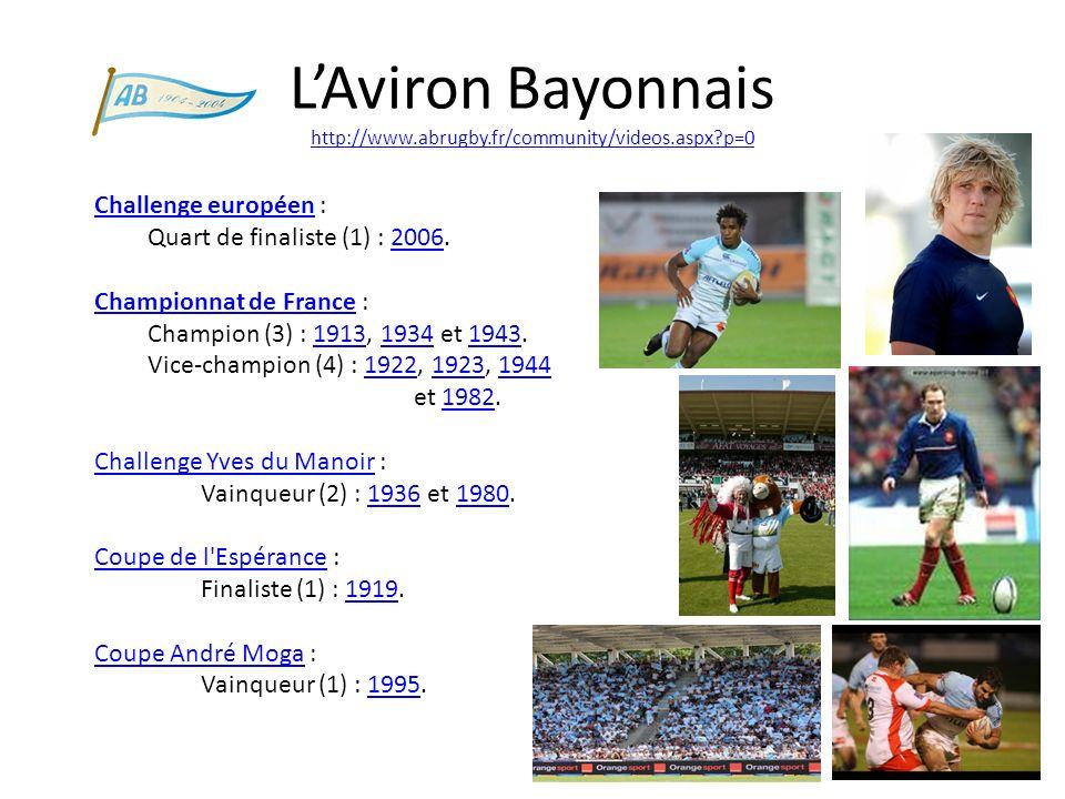 LAviron Bayonnais http://www.abrugby.fr/community/videos.aspx?p=0 http://www.abrugby.fr/community/videos.aspx?p=0 Challenge européen : Quart de finali
