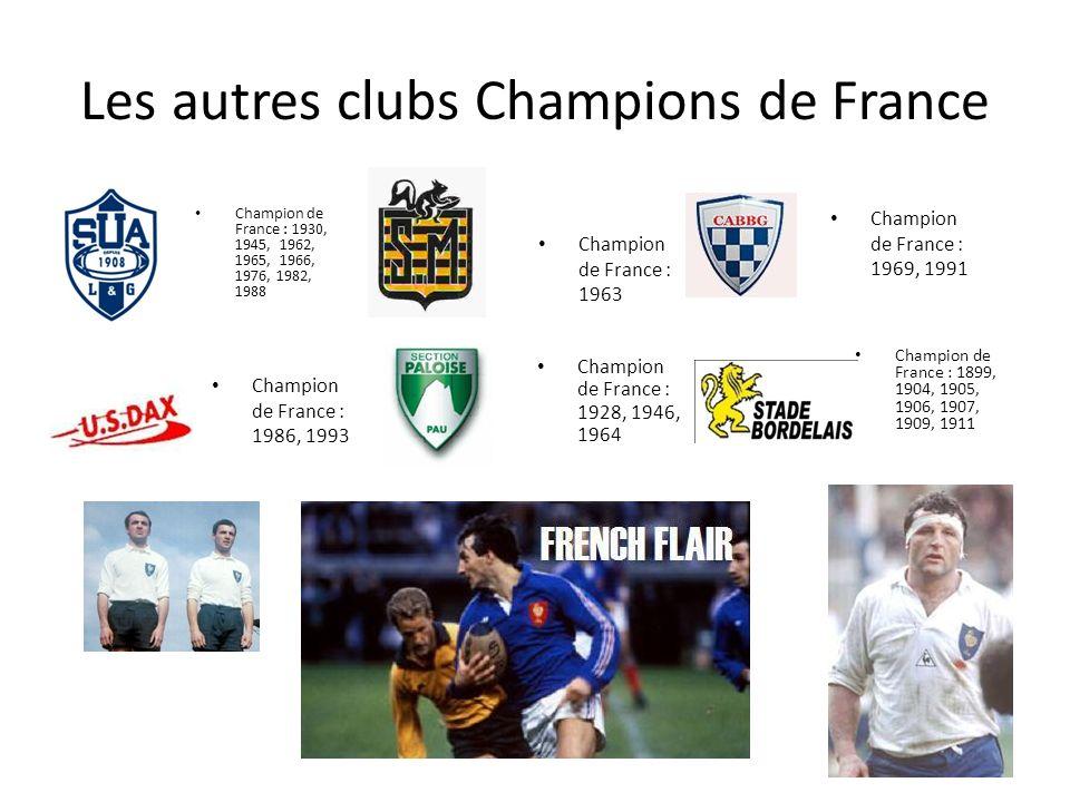 Les autres clubs Champions de France Champion de France : 1930, 1945, 1962, 1965, 1966, 1976, 1982, 1988 Champion de France : 1986, 1993 Champion de F