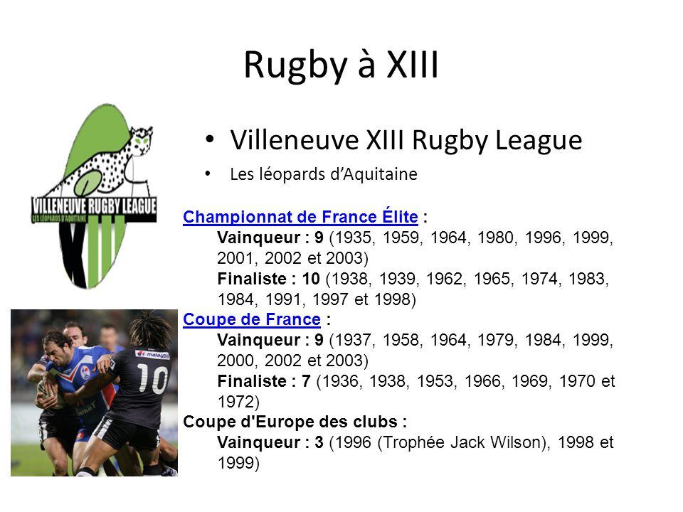 Rugby à XIII Villeneuve XIII Rugby League Les léopards dAquitaine Championnat de France ÉliteChampionnat de France Élite : Vainqueur : 9 (1935, 1959,