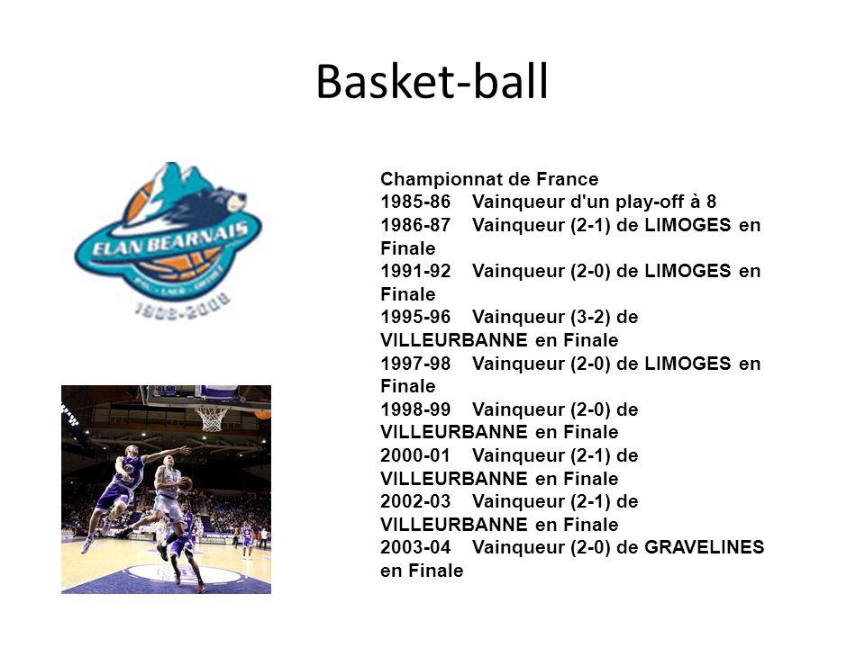 Basket-ball Championnat de France 1985-86 Vainqueur d'un play-off à 8 1986-87 Vainqueur (2-1) de LIMOGES en Finale 1991-92 Vainqueur (2-0) de LIMOGES