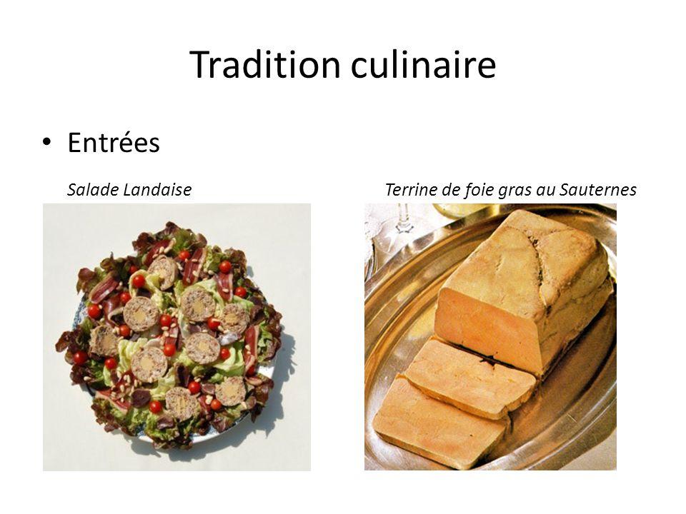Tradition culinaire Entrées Salade LandaiseTerrine de foie gras au Sauternes
