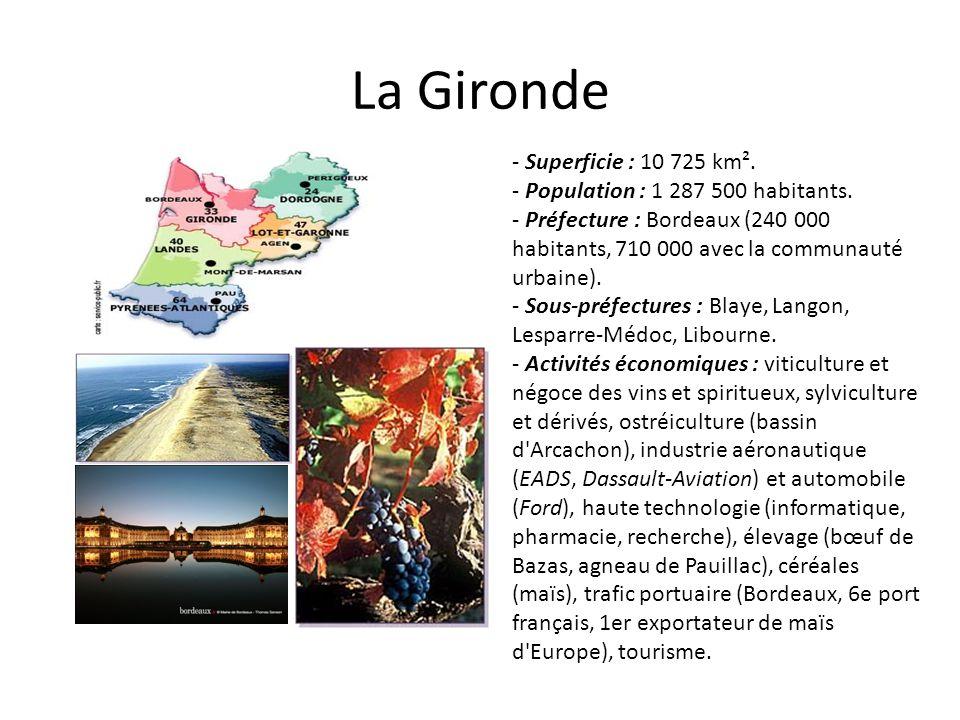 La Gironde - Superficie : 10 725 km². - Population : 1 287 500 habitants. - Préfecture : Bordeaux (240 000 habitants, 710 000 avec la communauté urbai