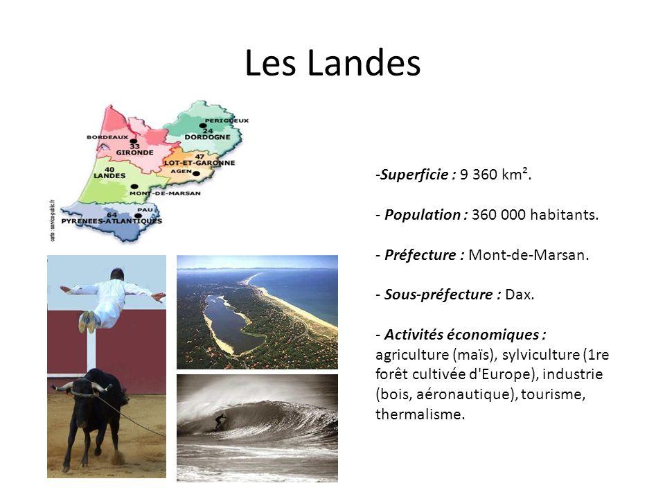 Les Landes -Superficie : 9 360 km². - Population : 360 000 habitants. - Préfecture : Mont-de-Marsan. - Sous-préfecture : Dax. - Activités économiques