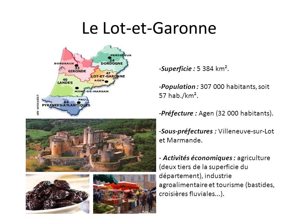 Le Lot-et-Garonne -Superficie : 5 384 km². -Population : 307 000 habitants, soit 57 hab./km². -Préfecture : Agen (32 000 habitants). -Sous-préfectures