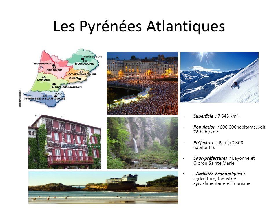 Les Pyrénées Atlantiques -Superficie : 7 645 km². -Population : 600 000habitants, soit 78 hab./km². -Préfecture : Pau (78 800 habitants). -Sous-préfec