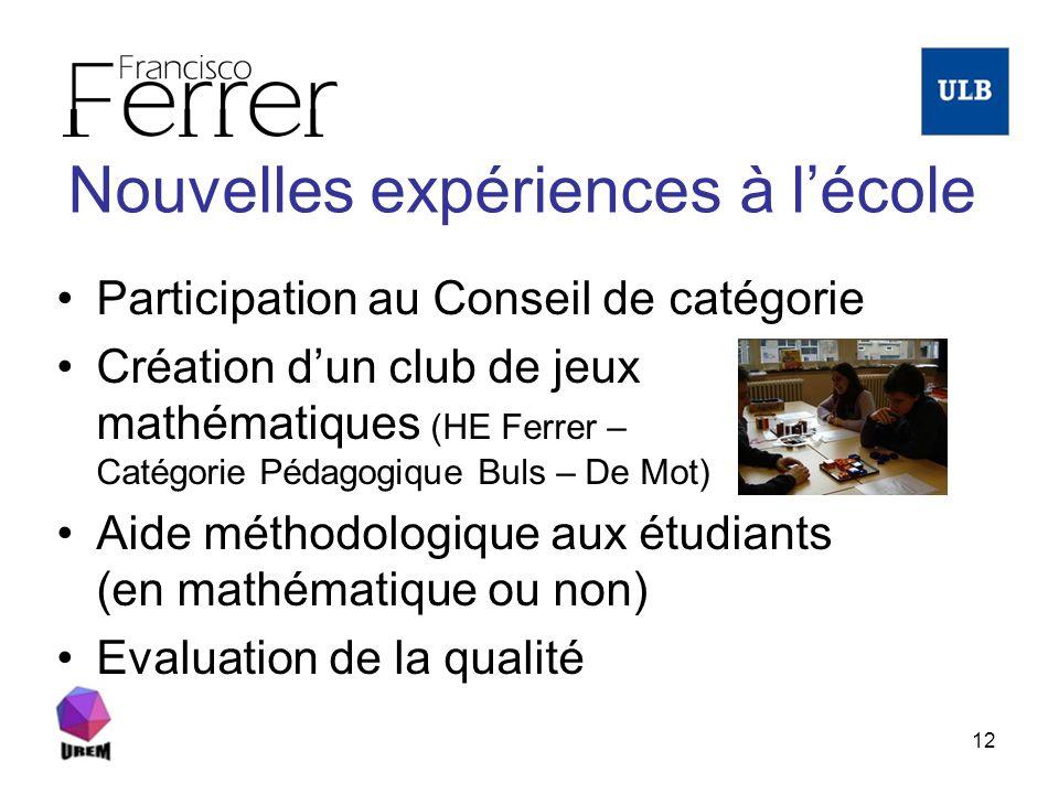 12 Nouvelles expériences à lécole Participation au Conseil de catégorie Création dun club de jeux mathématiques (HE Ferrer – Catégorie Pédagogique Bul