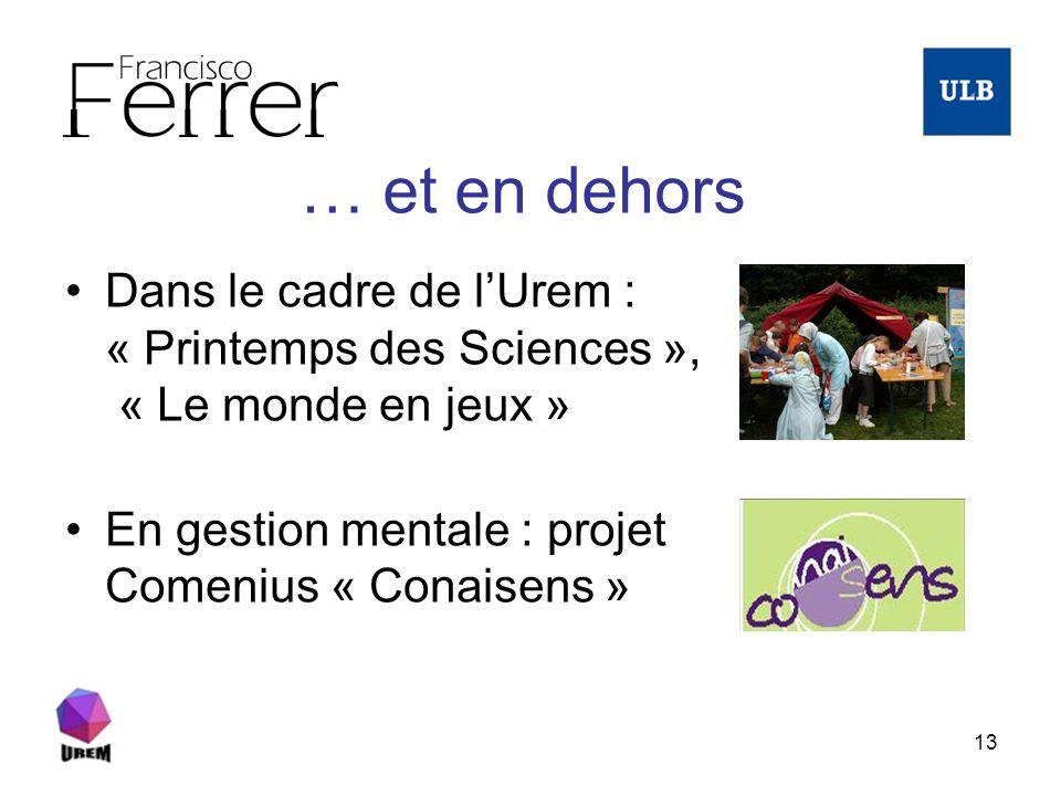 13 … et en dehors Dans le cadre de lUrem : « Printemps des Sciences », « Le monde en jeux » En gestion mentale : projet Comenius « Conaisens »