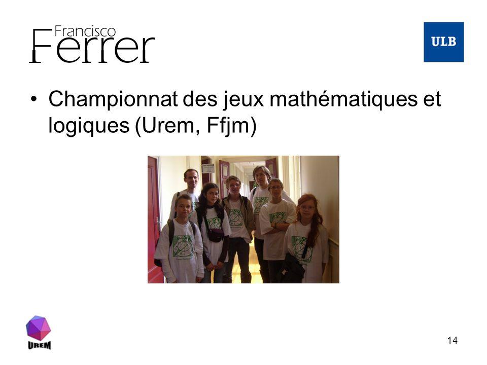 14 Championnat des jeux mathématiques et logiques (Urem, Ffjm)