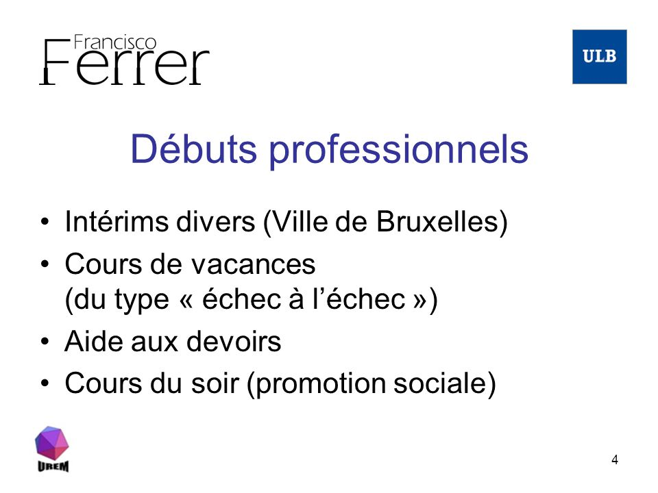 4 Débuts professionnels Intérims divers (Ville de Bruxelles) Cours de vacances (du type « échec à léchec ») Aide aux devoirs Cours du soir (promotion