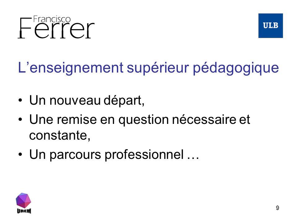 9 Lenseignement supérieur pédagogique Un nouveau départ, Une remise en question nécessaire et constante, Un parcours professionnel …