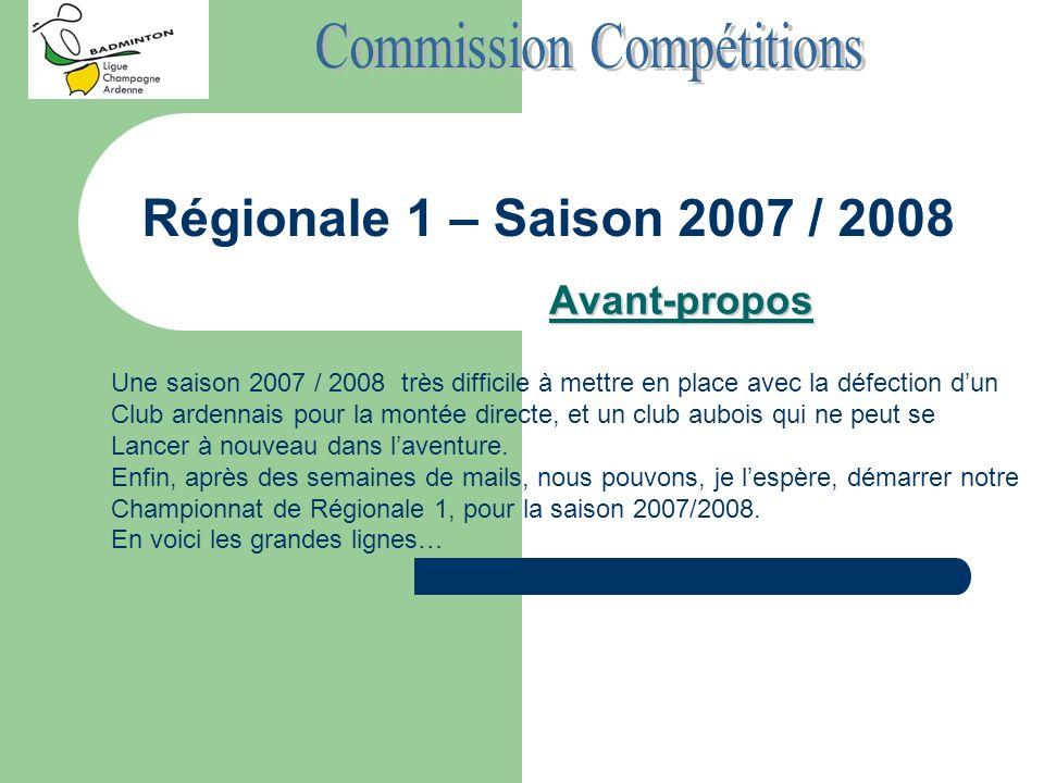 Régionale 1 – Saison 2007 / 2008 Les Equipes - BC Baralbin - BAD Tinqueux - P Charleville - BC Tournes - ASPTT Reims - PL Troyes 2 - SLO Bettancourt - Romilly S10 8 équipes : - 2 Ardennaises - 2 Marnaises - 1 Haut Marnaise - 3 Auboises