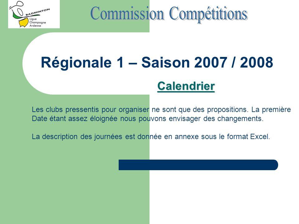 Régionale 1 – Saison 2007 / 2008 Calendrier Les clubs pressentis pour organiser ne sont que des propositions. La première Date étant assez éloignée no