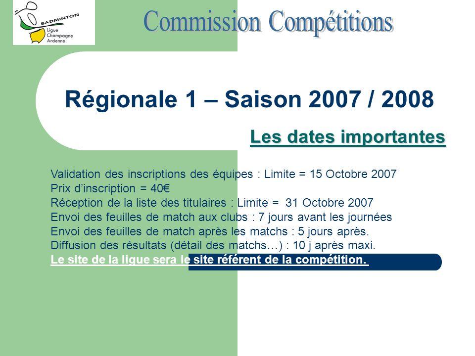 Régionale 1 – Saison 2007 / 2008 Les dates importantes Validation des inscriptions des équipes : Limite = 15 Octobre 2007 Prix dinscription = 40 Récep