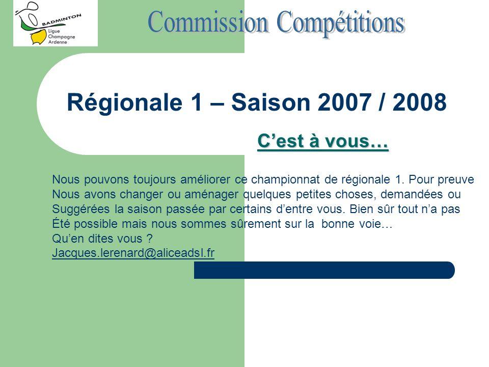 Régionale 1 – Saison 2007 / 2008 Cest à vous… Nous pouvons toujours améliorer ce championnat de régionale 1. Pour preuve Nous avons changer ou aménage