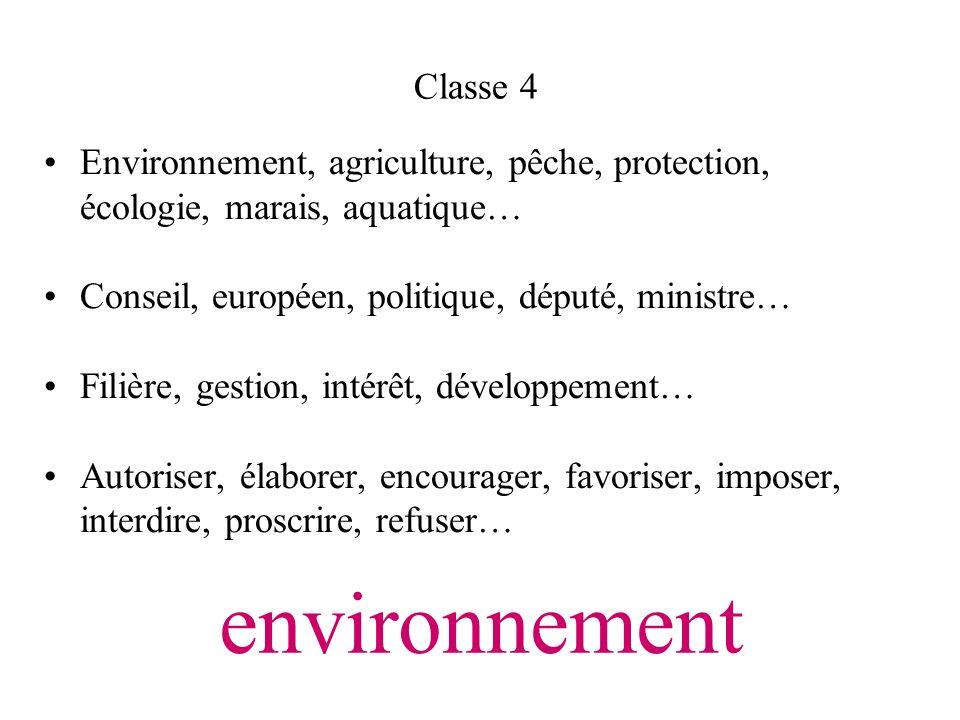 environnement Environnement, agriculture, pêche, protection, écologie, marais, aquatique… Conseil, européen, politique, député, ministre… Filière, ges