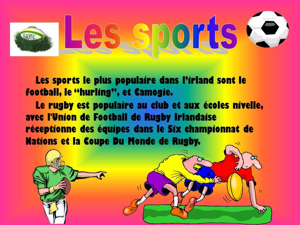 Les sports le plus populaire dans lirland sont le football, le hurling, et Camogie. Le rugby est populaire au club et aux écoles nivelle, avec l'Union