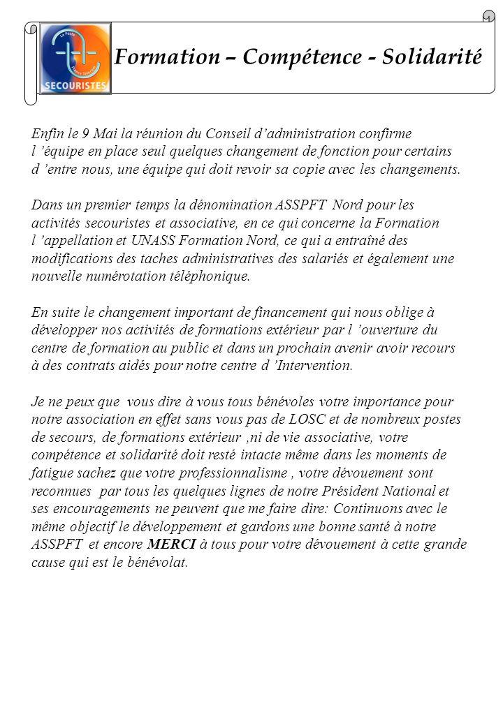 Formation – Compétence - Solidarité Enfin le 9 Mai la réunion du Conseil dadministration confirme l équipe en place seul quelques changement de foncti