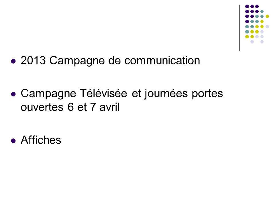 2013 Campagne de communication Campagne Télévisée et journées portes ouvertes 6 et 7 avril Affiches