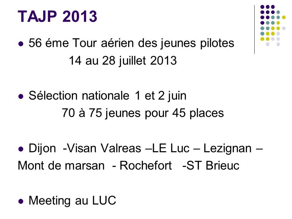TAJP 2013 56 éme Tour aérien des jeunes pilotes 14 au 28 juillet 2013 Sélection nationale 1 et 2 juin 70 à 75 jeunes pour 45 places Dijon -Visan Valreas –LE Luc – Lezignan – Mont de marsan - Rochefort -ST Brieuc Meeting au LUC