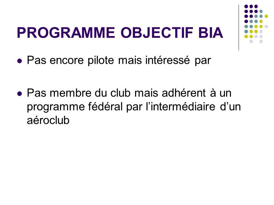 PROGRAMME OBJECTIF BIA Pas encore pilote mais intéressé par Pas membre du club mais adhérent à un programme fédéral par lintermédiaire dun aéroclub