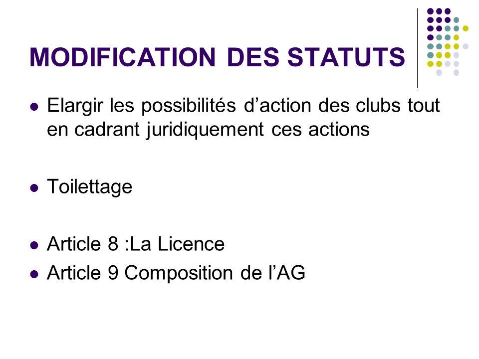 MODIFICATION DES STATUTS Elargir les possibilités daction des clubs tout en cadrant juridiquement ces actions Toilettage Article 8 :La Licence Article 9 Composition de lAG