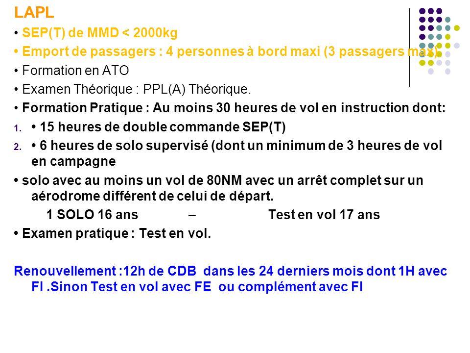 LAPL SEP(T) de MMD < 2000kg Emport de passagers : 4 personnes à bord maxi (3 passagers max) Formation en ATO Examen Théorique : PPL(A) Théorique.