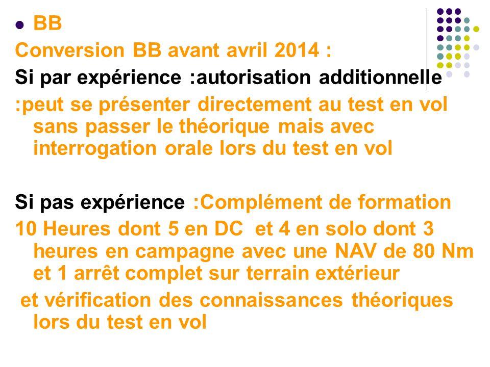 BB Conversion BB avant avril 2014 : Si par expérience :autorisation additionnelle :peut se présenter directement au test en vol sans passer le théoriq