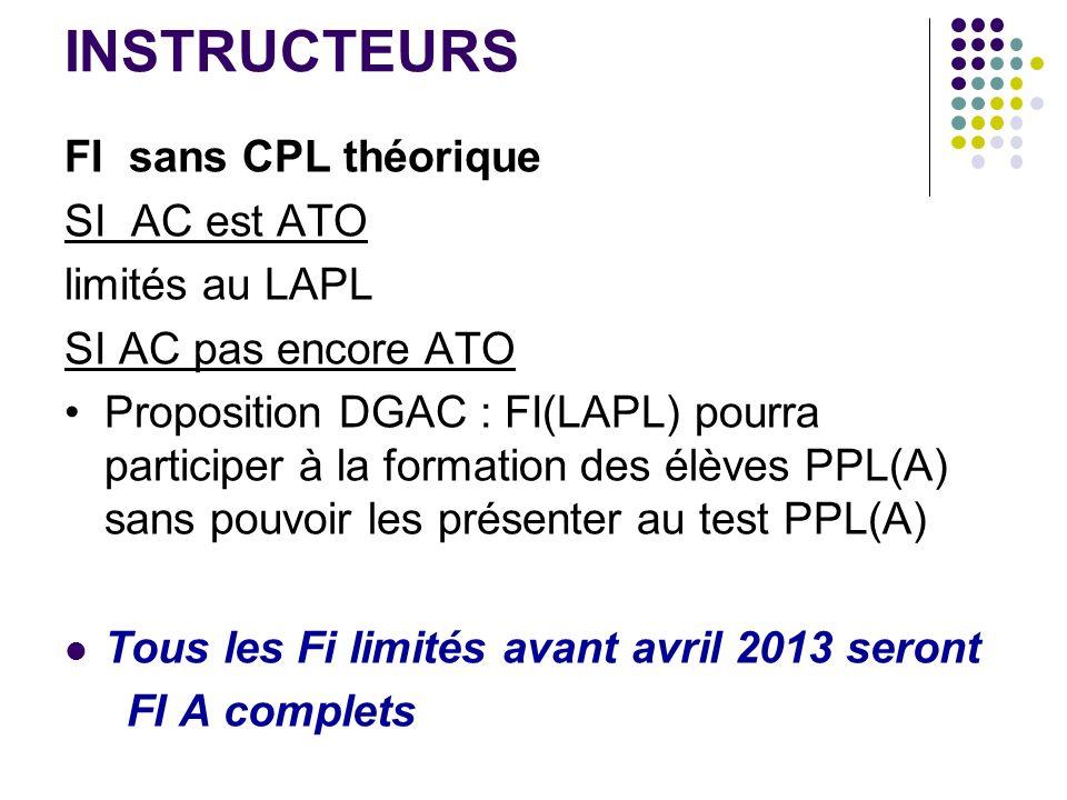 INSTRUCTEURS FI sans CPL théorique SI AC est ATO limités au LAPL SI AC pas encore ATO Proposition DGAC : FI(LAPL) pourra participer à la formation des