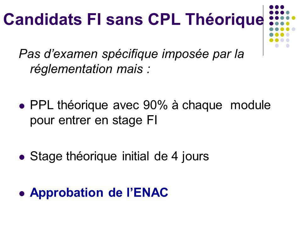 Candidats FI sans CPL Théorique Pas dexamen spécifique imposée par la réglementation mais : PPL théorique avec 90% à chaque module pour entrer en stage FI Stage théorique initial de 4 jours Approbation de lENAC