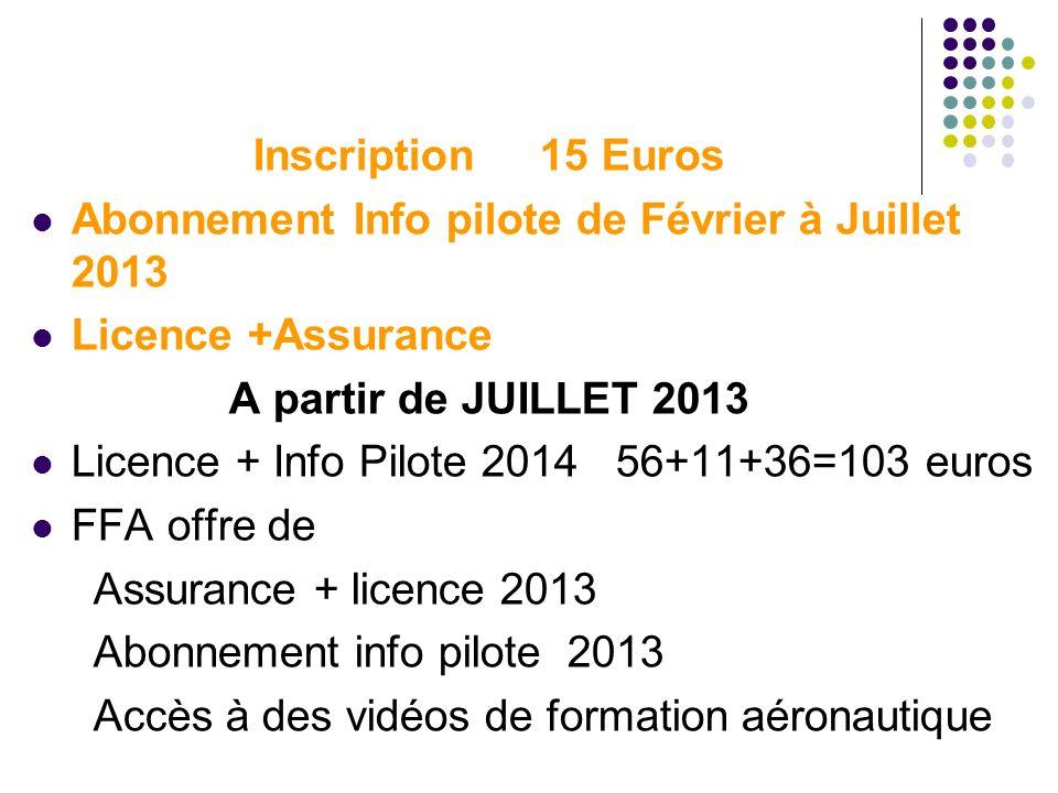 Inscription 15 Euros Abonnement Info pilote de Février à Juillet 2013 Licence +Assurance A partir de JUILLET 2013 Licence + Info Pilote 2014 56+11+36=
