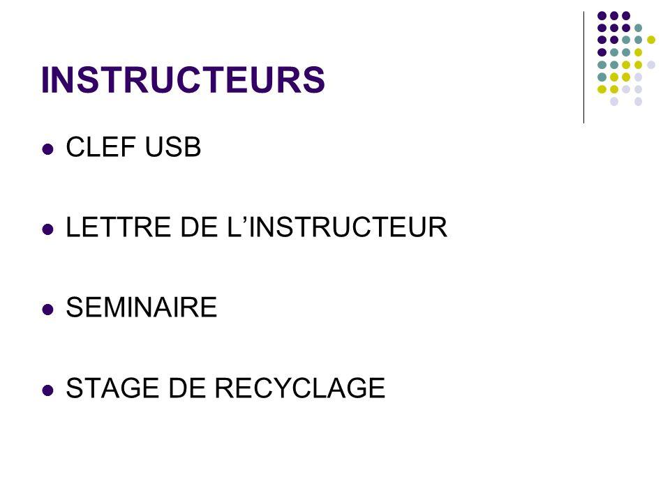 INSTRUCTEURS CLEF USB LETTRE DE LINSTRUCTEUR SEMINAIRE STAGE DE RECYCLAGE