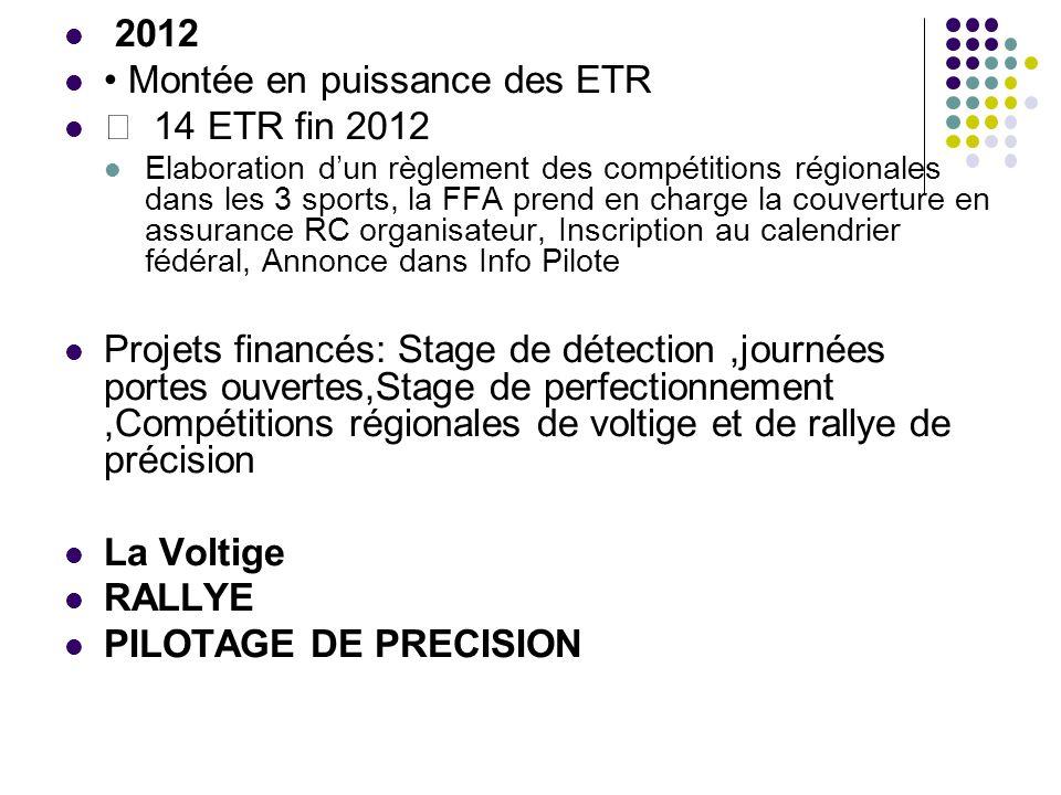 2012 Montée en puissance des ETR 14 ETR fin 2012 Elaboration dun règlement des compétitions régionales dans les 3 sports, la FFA prend en charge la co