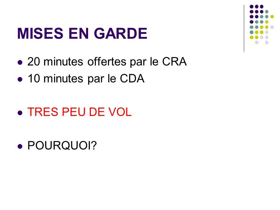 MISES EN GARDE 20 minutes offertes par le CRA 10 minutes par le CDA TRES PEU DE VOL POURQUOI?