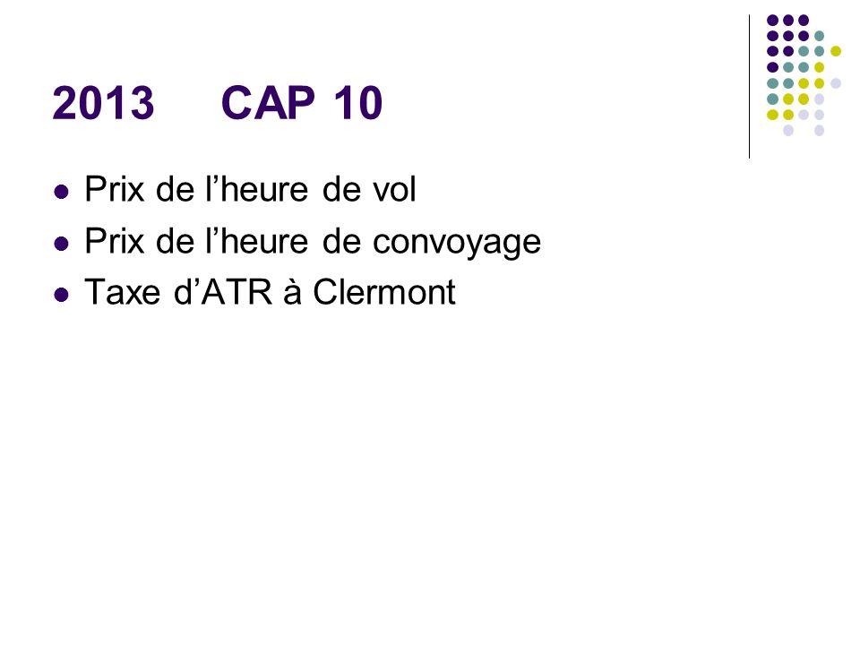 2013 CAP 10 Prix de lheure de vol Prix de lheure de convoyage Taxe dATR à Clermont